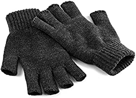 Beechfield Unisex Plain Basic Fingerless Winter Gloves (S/M) (Charcoal)