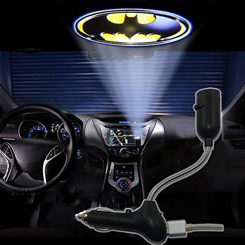 Spoya 3D Batman symbol badge USB Car dome ceiling CREE LED cigarette lighter logo laser projector light lamp (Accessories Auto Batman)