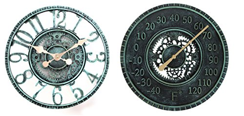 (Lily's Home Hanging Wall Clock and Thermometer Set, Steampunk Gear and Cog Design with a Pewter Finish, Ideal for Indoor or Outdoor Use, Poly-Resin (12 Inches and 13 Inches Diameter))