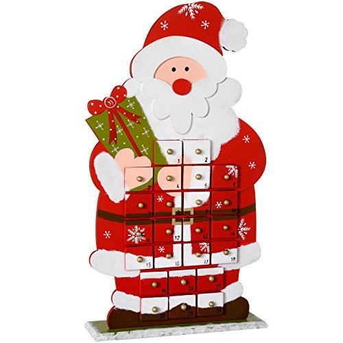 WeRChristmas 45 cm Wooden Santa Advent Calendar Christmas Decoration, Multi-Colour by WeRChristmas