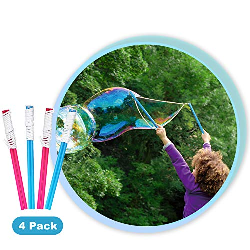 Vtopmart Bubble Wand, 4 Big Bubble Wands for Kids,Perfect Birthday Activities and Party Favors, Great Fun for Outdoor Activities, Bubble Solution Not Included]()