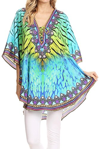 (Sakkas P22 - Balloon Top Tallulah Wide Circle Blouse Poncho Top with Tie Neck Enclosure with Bead - 1703-Turquoise/Yellow - OS )