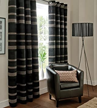 STUNNING PARIS BLACK GREY FULLY LINED 66X54 RING TOP CHENILLE ...