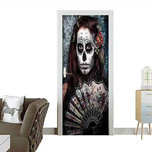 3D Photo Door Murals The Dead Make up Artist Girl with Dead Skull Scary Mask Roses Easy to Clean and applyW30 x H80 INCH ()