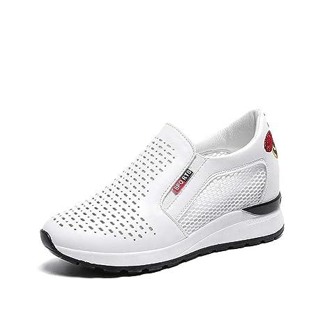 YSFU zapatillas Zapatillas De Deporte De Cuña Blancas para Mujer Zapatos Casuales Zapatos De Mujer Plataforma