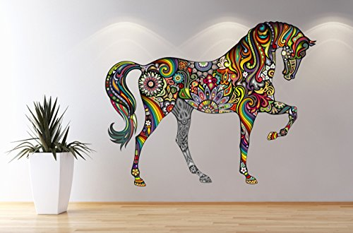Abstract Colorful Horse Window 3D Wall Decal Art Removable Wallpaper Mural Sticker Vinyl Home Decor West Mountain LB01 (46''W x 36''H)