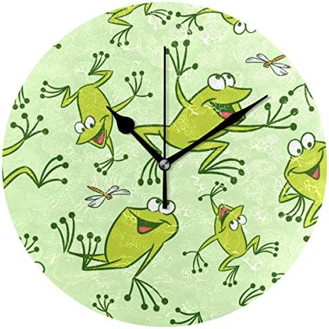 UKIO 掛け時計 置き時計 壁掛け時計 カエル とんぼ グリーン 部屋装飾 壁時計 インテリア おしゃれ かわいい アート 部屋 ウォールクロック 円型