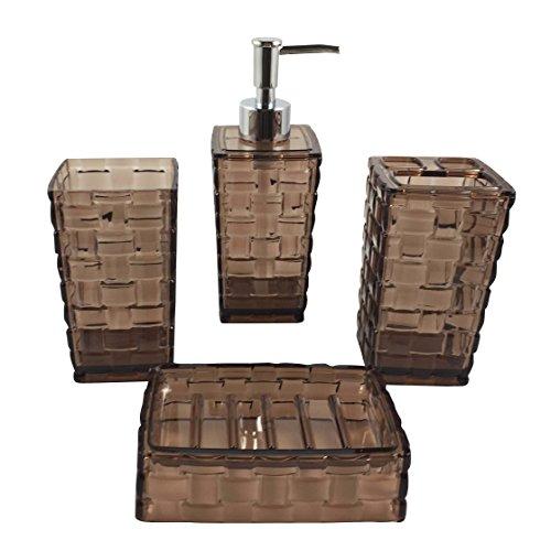 Hampton Bathroom Accessories Set, 4 Piece Bath Ensemble Set Collection Features Soap Dispenser, Toothbrush Holder, Tumbler, Soap Dish Basket Weave (Brown) by Hampton