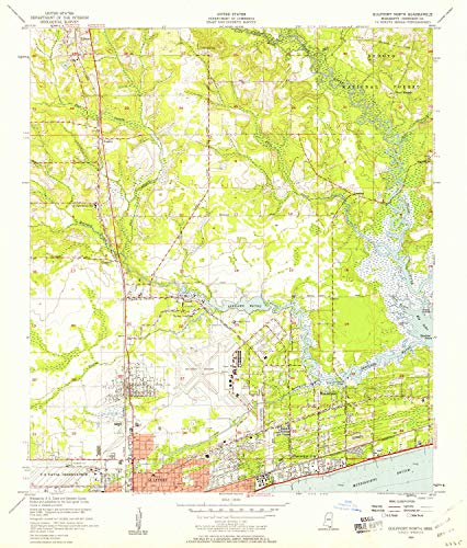YellowMaps Gulfport North MS topo map, 1:24000 Scale, 7.5 X 7.5 Minute, Historical, 1954, Updated 1958, 26.8 x 22.9 in - Polypropylene (West Mississippi Gulfport)