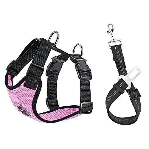 SlowTon Dog Car Harness Plus Connector Strap, Multifunction Adjustable Vest Harness Double Breathable Mesh Fabric with Car Vehicle Safety Seat Belt (Medium, Pink)