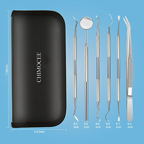 Chimocee Dental Tools, 6PCS Dental Hygiene Kit, Plaque and Tartar Remover, Tooth Pick, Dental Scaler for Teeth with Mouth Mirror, Teeth Cleaning Tools with Portable Leather Case for Personal & Pet Use by Chimocee (Image #7)