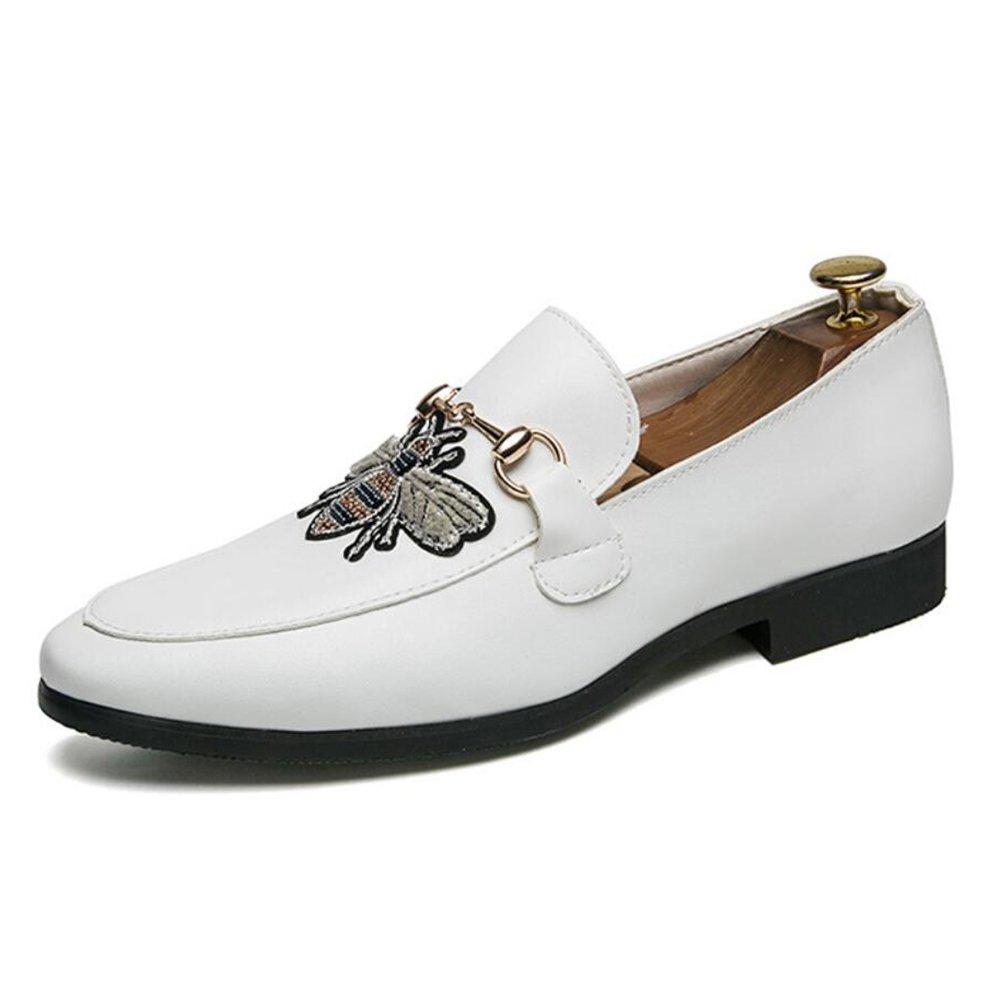 CAI Herren Lederschuhe 2018 Vier Jahreszeiten  Herren Fashion Friseur Single Schuhe Mode wies Nachtclub/Hochzeit / Party Loafers & Slip-Ons Neuheit Schuhe (Farbe : Weiß, Größe : 40)