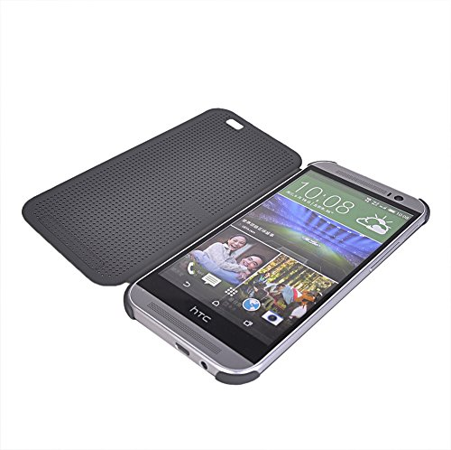 M8 Fundas,COOLKE [Rose] Flip Case Cover Para Slim transpirable Carcasa Caso Cuero Tapa para HTC One M8 Gris