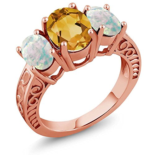 Citrine White Simulated Opal 18K Rose Gold Plated Silver Ring (Size 6) ()