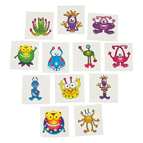 [Mememall Fashion 36 Alien MONSTER TATTOOS Kids Temporary Halloween Bag Fun Birthday Party Favors] (Scarlett O Hara Halloween Costumes)