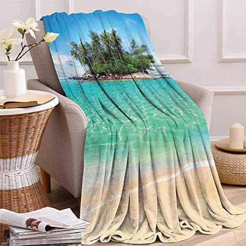 "maisi Island Digital Printing Blanket Tropical Island Sandy Seaside Clear Water Honeymoon Destination Waterscape Summer Quilt Comforter 62""x60"" Cream Blue Green"