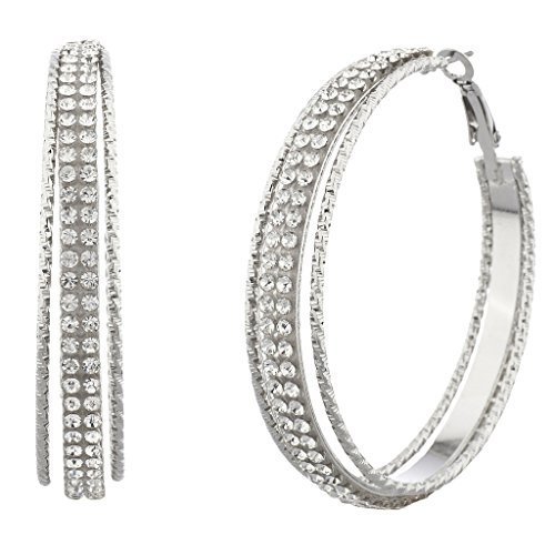 Lux Accessories Silvertone and Crystal Pave Double Row Cutout Hoop Earrings (Row Cut Out)