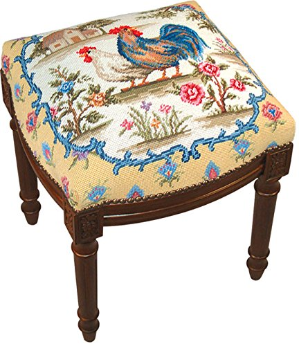(Kensington Row Home Collection - Accent Stools - Rooster Needlepoint Upholstered Stool - Vanity Seat - Wood Stain Frame)