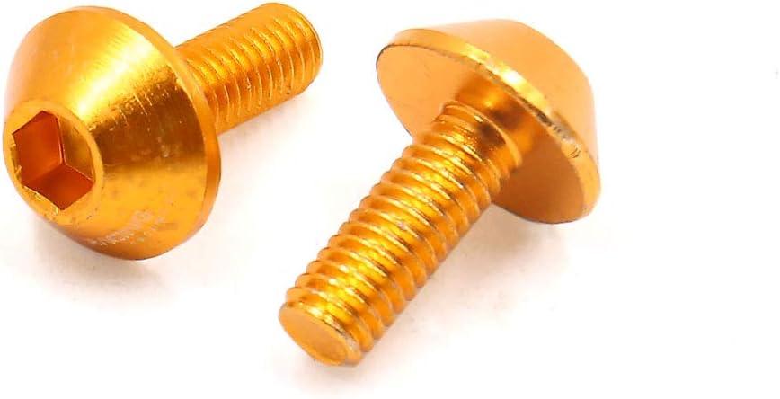 uxcell 6pcs Gold Tone Aluminum Alloy Motorcycle Hex Socket Head Bolts Screws M6 X 15