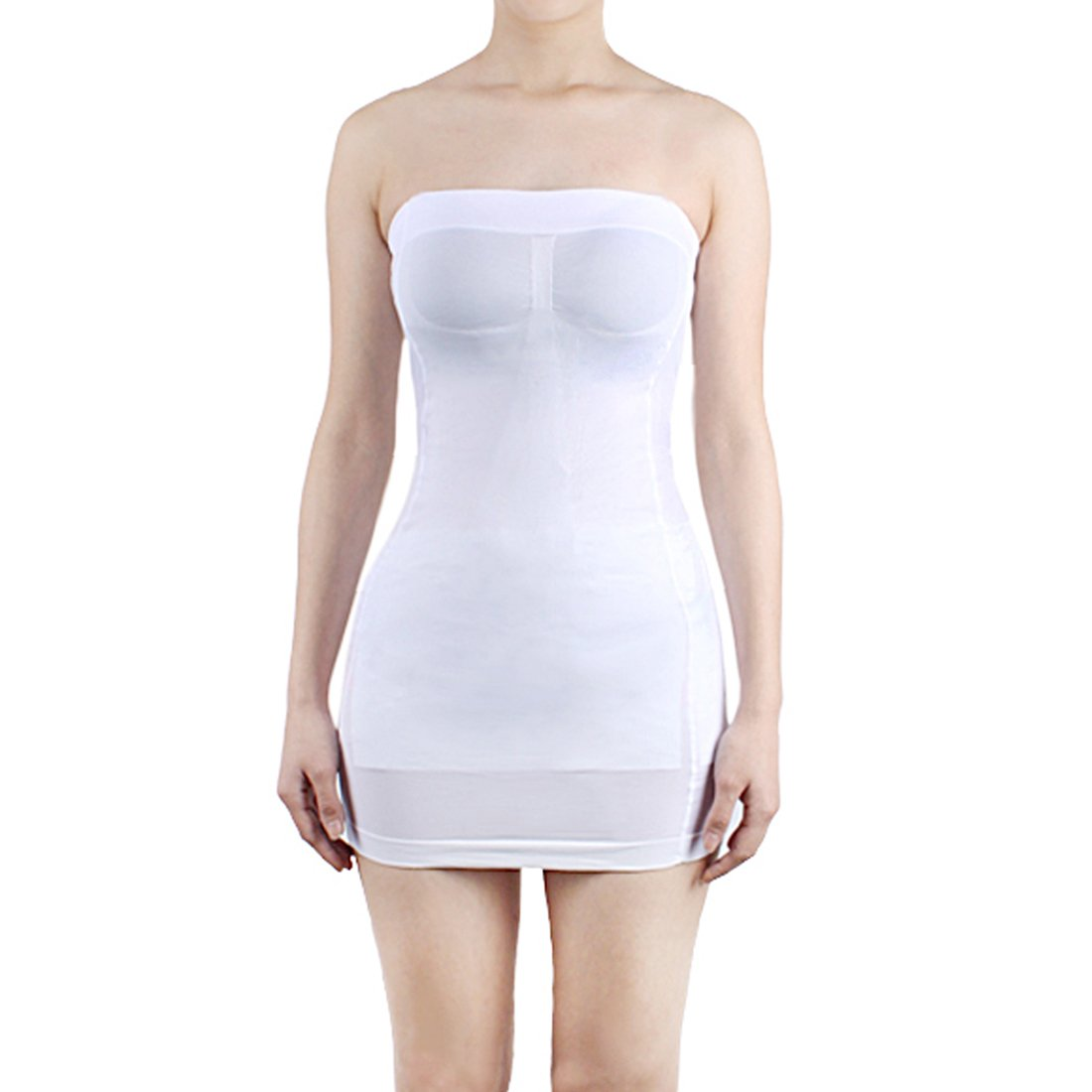 2a09e0a9eb2 Andux Sexy Slimming Tube Top Stretch Strapless Slip Mini Dress SS-W03  White  Amazon.co.uk  Sports   Outdoors