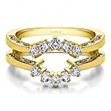 TwoBirch 0.5 ct. Cubic Zirconia Double Shared Prong Wedding Ring Guard in Yellow Plated Sterling Silver (1/2 ct. twt.)