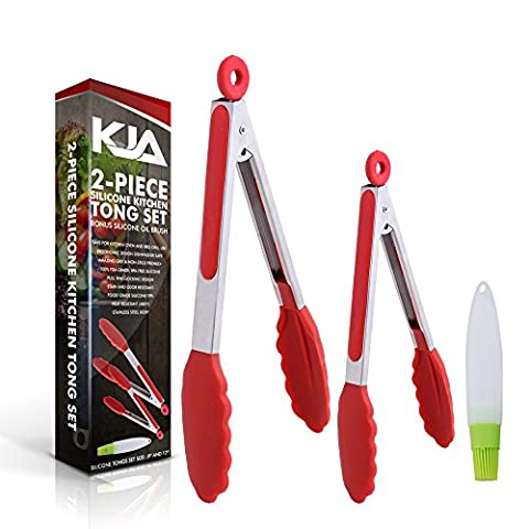 KJA Premium Kitchen Tongs: Set Of 2 (9 and 12 inch) Food Tongs Made With Heat Resistant Silicone – Stainless Steel Utensil For Cooking, BBQ, Grilling, Salad, Fish & Serving – Free Silicone Oil (Food Tongs 9)