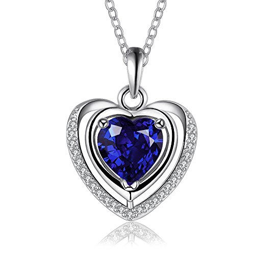 Ostri Love Heart Necklace 18K White Gold Plated...