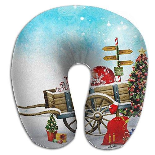 Memory Foam Neck Pillow Santa Claus Sleigh Comfy Soft U-Shape Travel Pillow Head Support For Travel Office Sleeping (Shape Sleigh)
