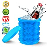 #6: FQMY New Silicone Ice Genie ice Cube Maker-Leakproof Design Super Large Silicone 2 in 1 Trays Molds Ice Bucket Revolutionary Space Saving Ice Cube Maker for Chilling Burbon Whiskey,Cockta