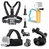 TEKCAM 5-In-1 Accessory Kits for Gopro Hero 5/Vtin 4K/AKASO EK5000 EK7000 4K Waterproof Camera in Skating Climbing Biking Riding Camping Diving Outdoor Sports Bundle