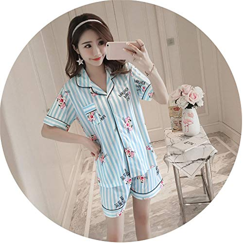Cute Cartoon Women's Pajama Sets Cotton Print 2 Pieces Set Crop Top Shorts Women Casual tu,Leopard Blue,XL -