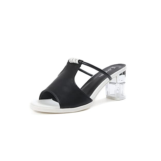 Casual Crude Heel Slides für Damen Elegante Sandalen Peep Toe Slip auf Kleid Keil Mode Lazy Shoes