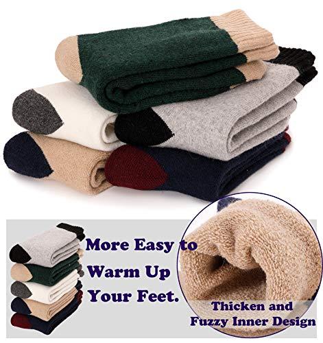 913e8bd280897 Womens Wool Fuzzy Socks Cabin Thick Heavy Thermal Warm Winter Crew ...