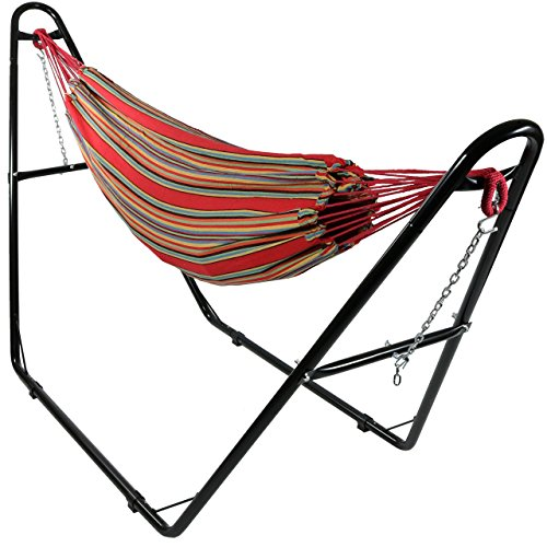 Sunnydaze Brazilian 2-Person Hammock with Universal Multi-Use Steel Stand, Indoor Outdoor Use, 450 Pound Capacity, Calming Desert