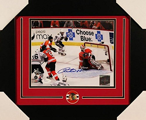 Display Framed Autographed (Patrick Kane Autographed Blackhawks 19X23 Custom Framed Photo Display JSA Authentic Coa)