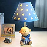 NIUYAO Cute Table Lamp Desk Lighting Starry Fabric Shade Kid's Lighting Led Beside Lamp Night Light Thematic Kids Boys Girls BedroomTable Lights (Blue)