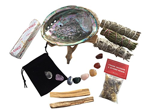 Healing Crystals and Stones - Kit comes with a Beautiful Abalone Shell, Palo Santo Incense Sticks, Sage Smudge Sticks, Frankincense and Myrrh Resin, Charcoal and a Black Velvet Gemstone (White Crystal Gemstone)