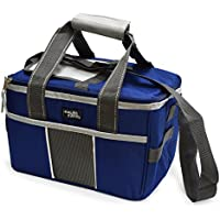 POLAR PACK 18 Can Double Handle Square Box Collapsible Cooler Bag Soft Portable Insulated Picnic Bag Outdoor Indoor Travel Lunch Bag for Camping, School, Travel & Sports (Navy/Charcoal)