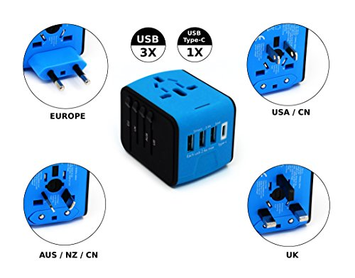 All-in-One International Travel charger Power Adapter for Worldwide AC Wall Outlet Plugs for UK, US, AU, Europe, China and Asia (3 USB ports + 1 USB Type-C port, Blue)