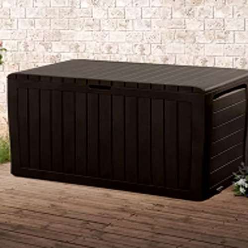 Mocha Resin Wicker Deck Box for Indoor And Outdoor, Brown Plastic Heavy Duty 71 Gallon Decorative Rectangular Storage Bench Deck Box Without Back & E-Book by center