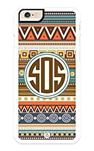 iZERCASE iPhone 6 Case Monogram Personalized Aztec Pattern with Turquoise Circle RUBBER CASE - Fits iPhone 6 T-Mobile, AT&T, Sprint, Verizon and International (White)