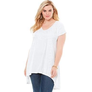 a642bde802e67 Roamans Women s Plus Size Crochet Swing Tunic at Amazon Women s Clothing  store