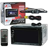 Power Acoustik PD-623B Double DIN 6.2 Car DVD MP3 CD Stereo with Bluetooth & Remote + DCO Waterproof Backup Camera with Nightvision