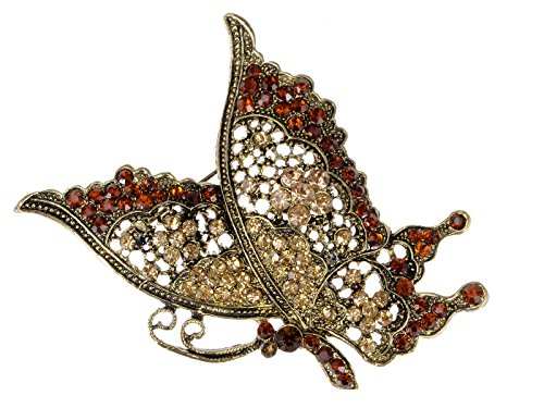 Alilang Brass Tone Red Topaz Crystal Rhinestones Butterfly Flying Bug Brooch Pin