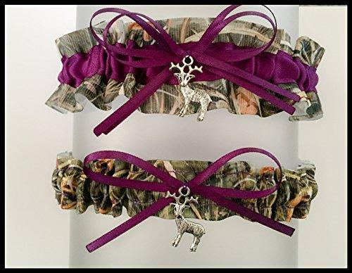 c8936551b79 Amazon.com  Sexy Camouflage Dark Purple Satin Camo Wedding Bridal Garter SET  - Deer Charm  Handmade