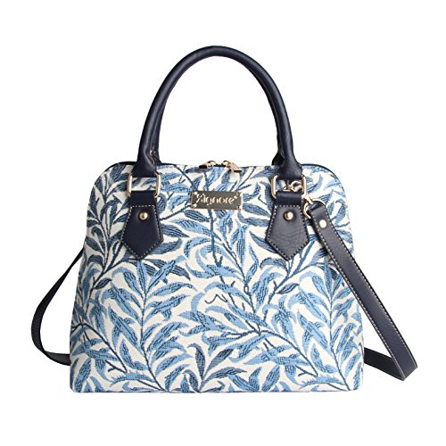 Light Blue William Morris Willow Bough Women's Fashion Canvas Tapestry Top Handle Handbag with Detachable Strap to Convert to Shoulder Bag by Signare (CONV-WIOW)
