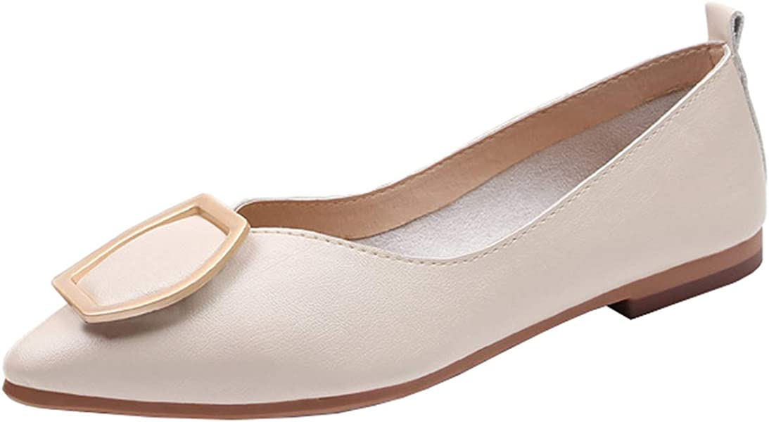 e71b2f6e3 Mashiaoyi Women's Pointed-Toe Flat Slip-on Metal Ballet Flats 4 US Beige