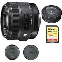 Sigma 30mm F1.4 ART DC HSM Lens for Nikon Digital SLR Cameras (301306) with Sigma USB Dock for Nikon Lens & Sandisk 32GB Extreme SD Memory UHS-I Card