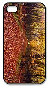 fashion cases autumn forest path PC Black Case for iphone 4/4S