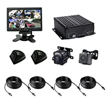 4 Channel AHD 720P H.264 HDD Vehicle Mobile DVR Security Surveillance System - Support 4G Live Remote Monitor, GPS Tracking with 3 Mini Waterproof Cameras, 1 Mini 720P Camera with Night Vision & more